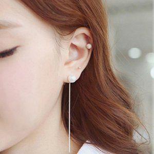 Minimalist Pearl Tassel Elegant Thread Earrings
